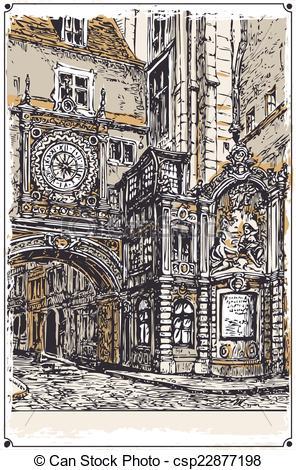 EPS Vectors of Vintage View of Gros Horloge street, Rouen.