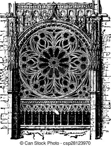 Vectors Illustration of Rose of the cathedral of Rouen, the.