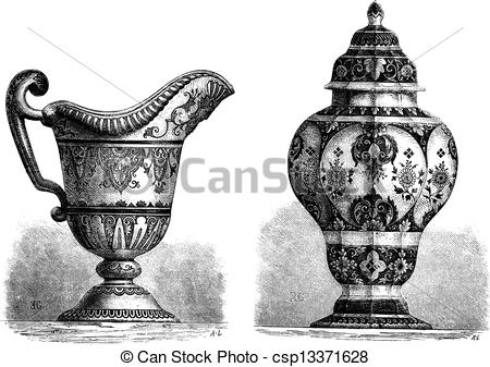 Vector Illustration of Various Earthenwares, found in Rouen.