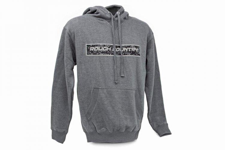 Rough Country Gray Hoodie w/ Digital Camo Logo.