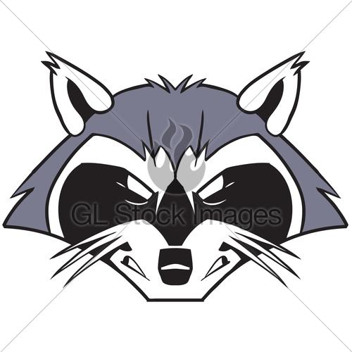 Rough Mean Cartoon Raccoon Mascot Head · GL Stock Images.