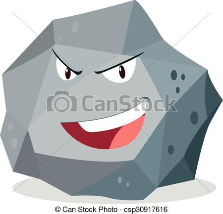 Vector Clip Art of Rough rock with face illustration csp30917616.
