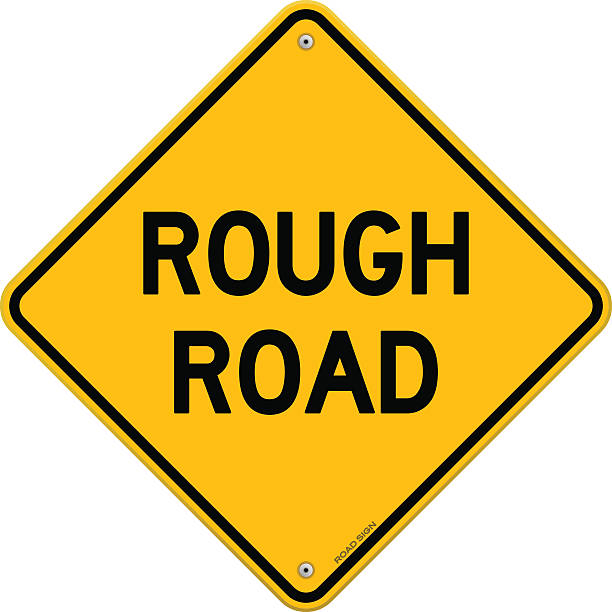 Background Of The Rough Road Sign Clip Art, Vector Images.
