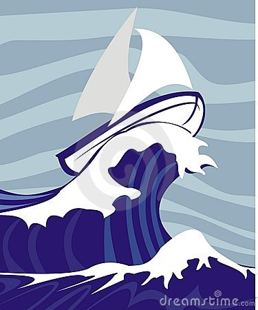 Yacht Rough Sea Stock Illustrations.