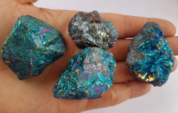 4 Chalcopyrite Peacock Ore Stones Raw by MakeBeautifulJewelry.