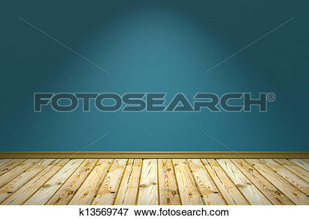 Stock Illustration of Empty room with rough wall under lamp.
