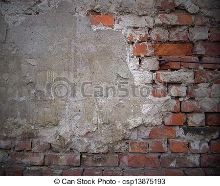 Stock Illustration of Old rough brick wall. Design template.