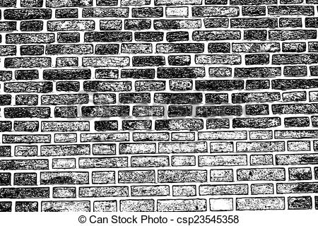 Clipart Vector of brick wall texture background old rough masonry.