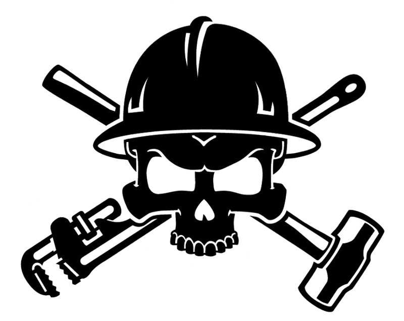 Oil Field Roughneck Skull Decal.