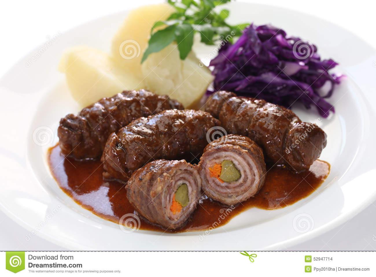 Rinderrouladen, German Beef Roll Stock Photo.
