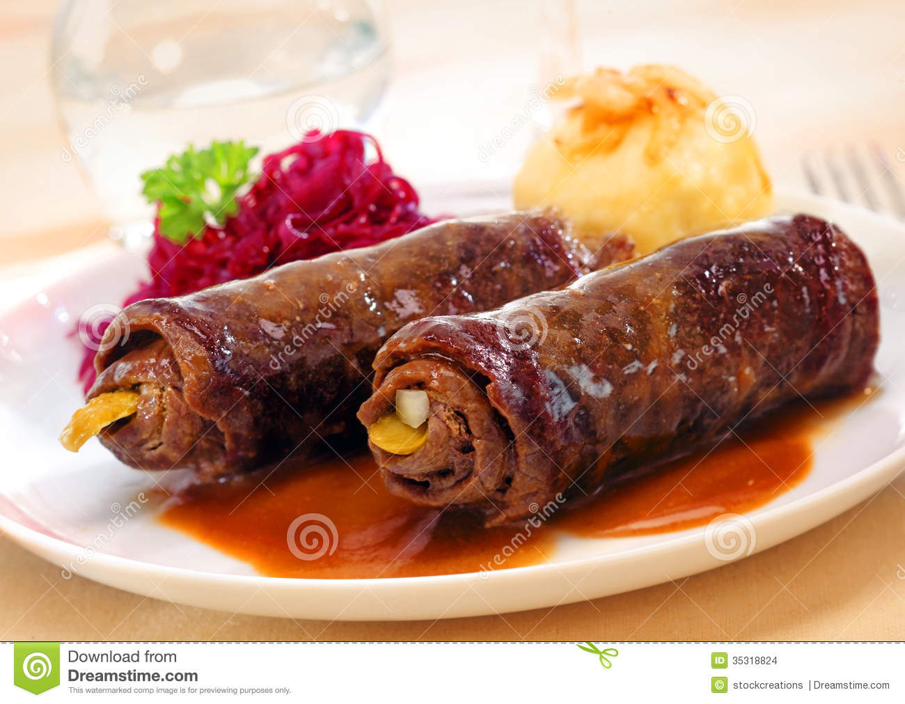 Two Roulades Or Beef Olives Stock Images.