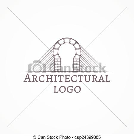 Vector of Vector illustration of brick round arch icon with text.
