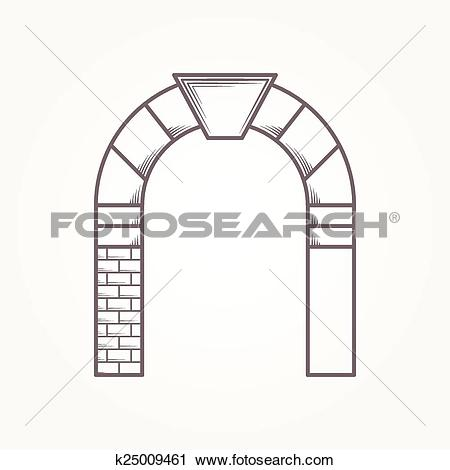 Clipart of Round arch flat line vector icon k25009461.