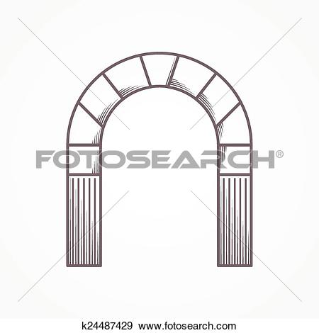 Clip Art of Flat line design round arch k24487429.