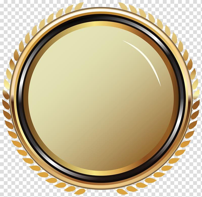 Badge , Gold Oval Badge , round yellow log o transparent.