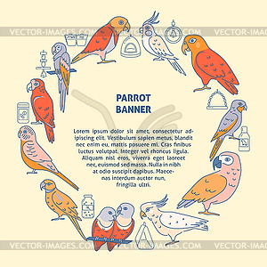 Parrots round concept banner in colored line style.
