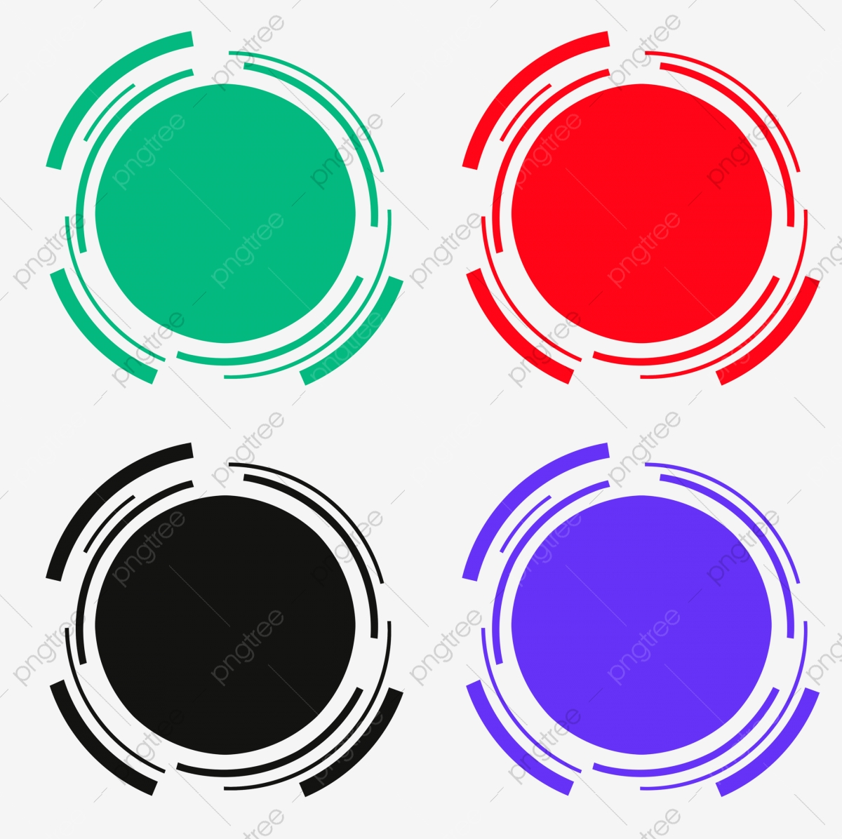 Round Circle Digital Electronic Banner Png Psd Four Colors.