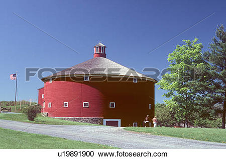 Stock Photography of shelburne museum in vt round barn vermont.