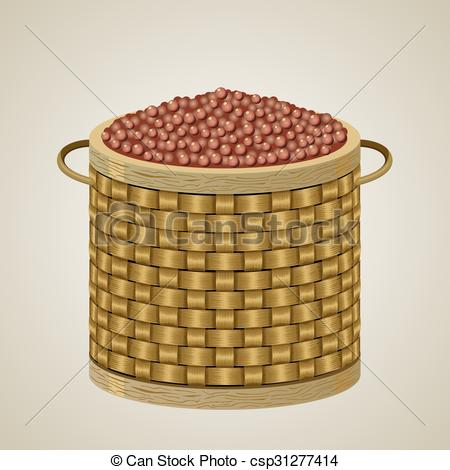 Vector Clip Art of Round wicker basket 2..