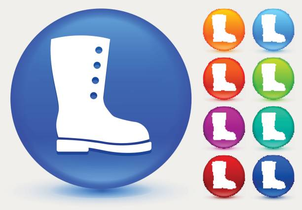 Boot Icon On White Round Vector Button Clip Art, Vector Images.