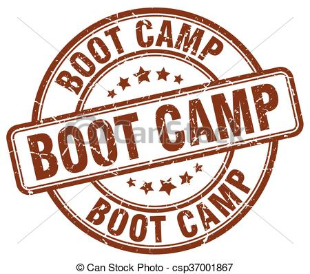 Clip Art Vector of boot camp brown grunge round vintage rubber.