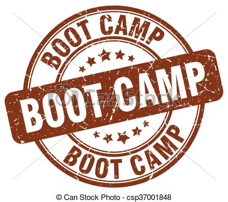 EPS Vector of boot camp brown grunge round vintage rubber stamp.