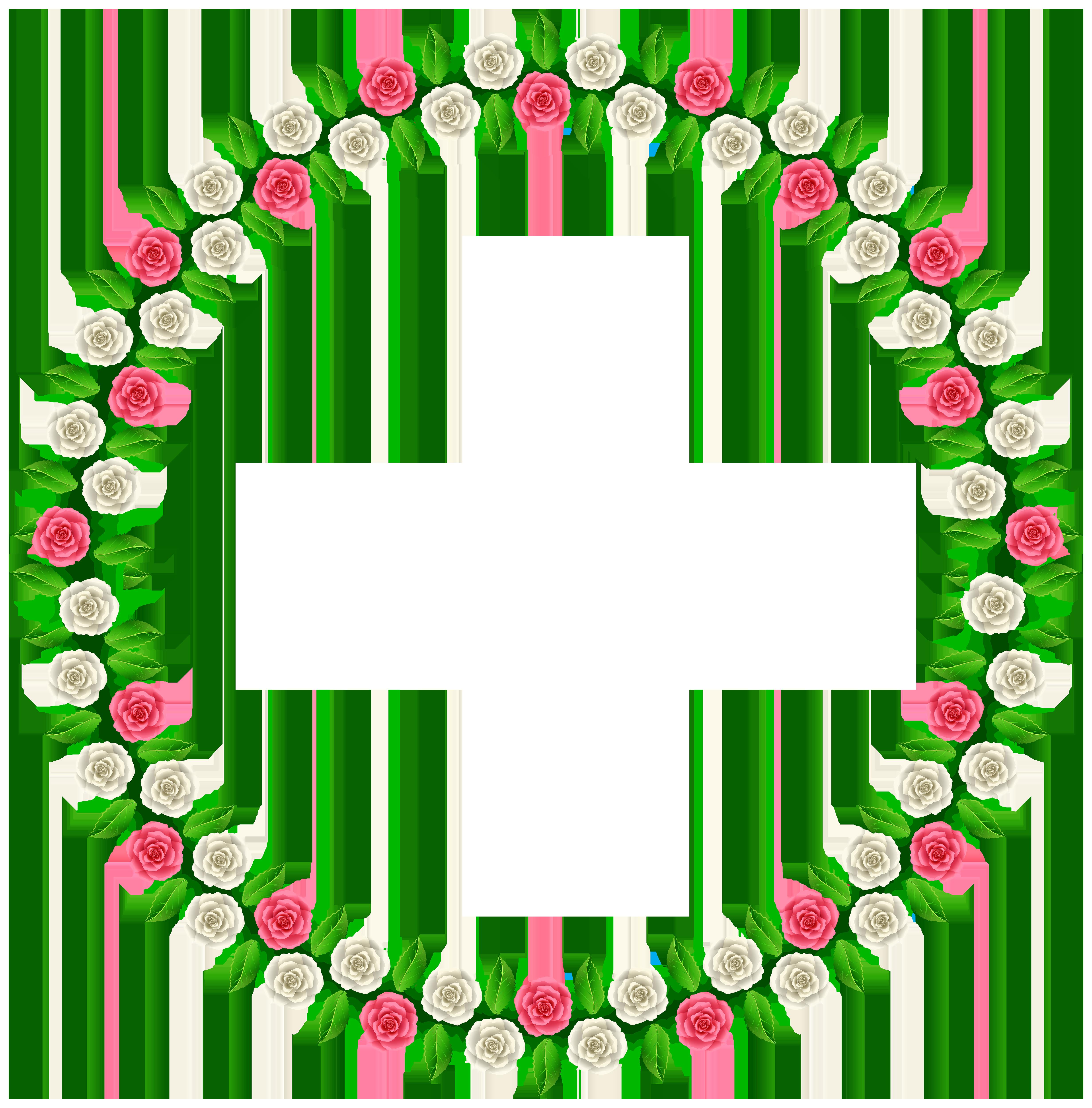Rose Round Border Frame PNG Clip Art.
