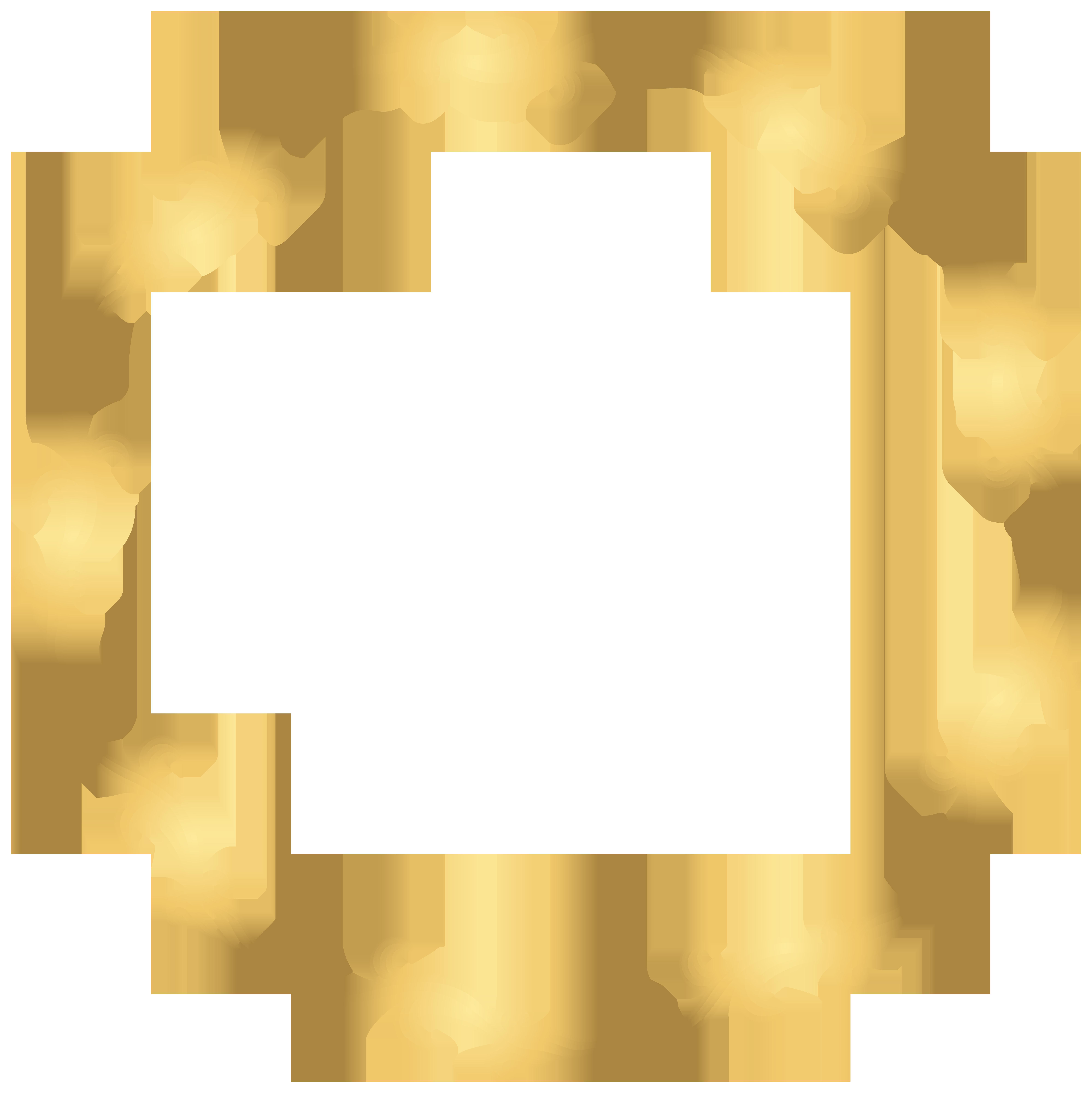 Floral Gold Round Border PNG Transparent Clip Art Image.