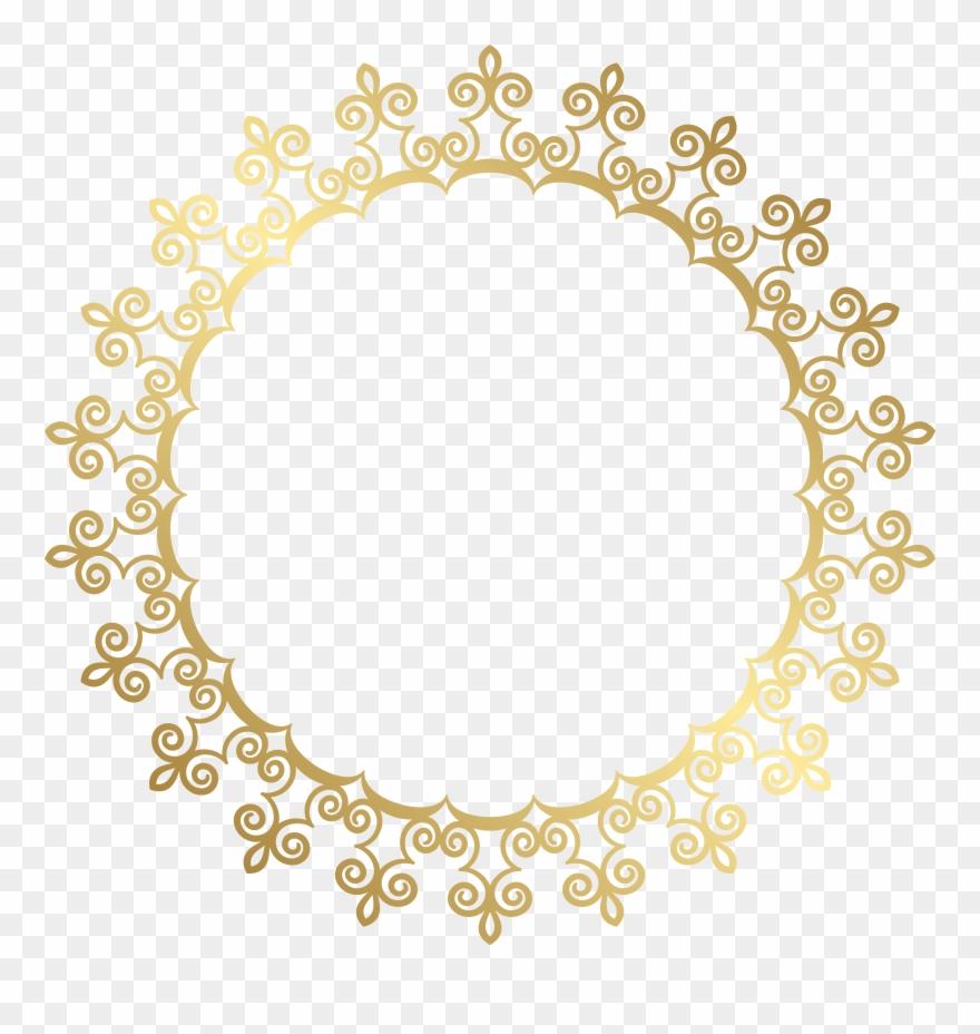 Round Gold Border Frame Transparent Clip Art Image.