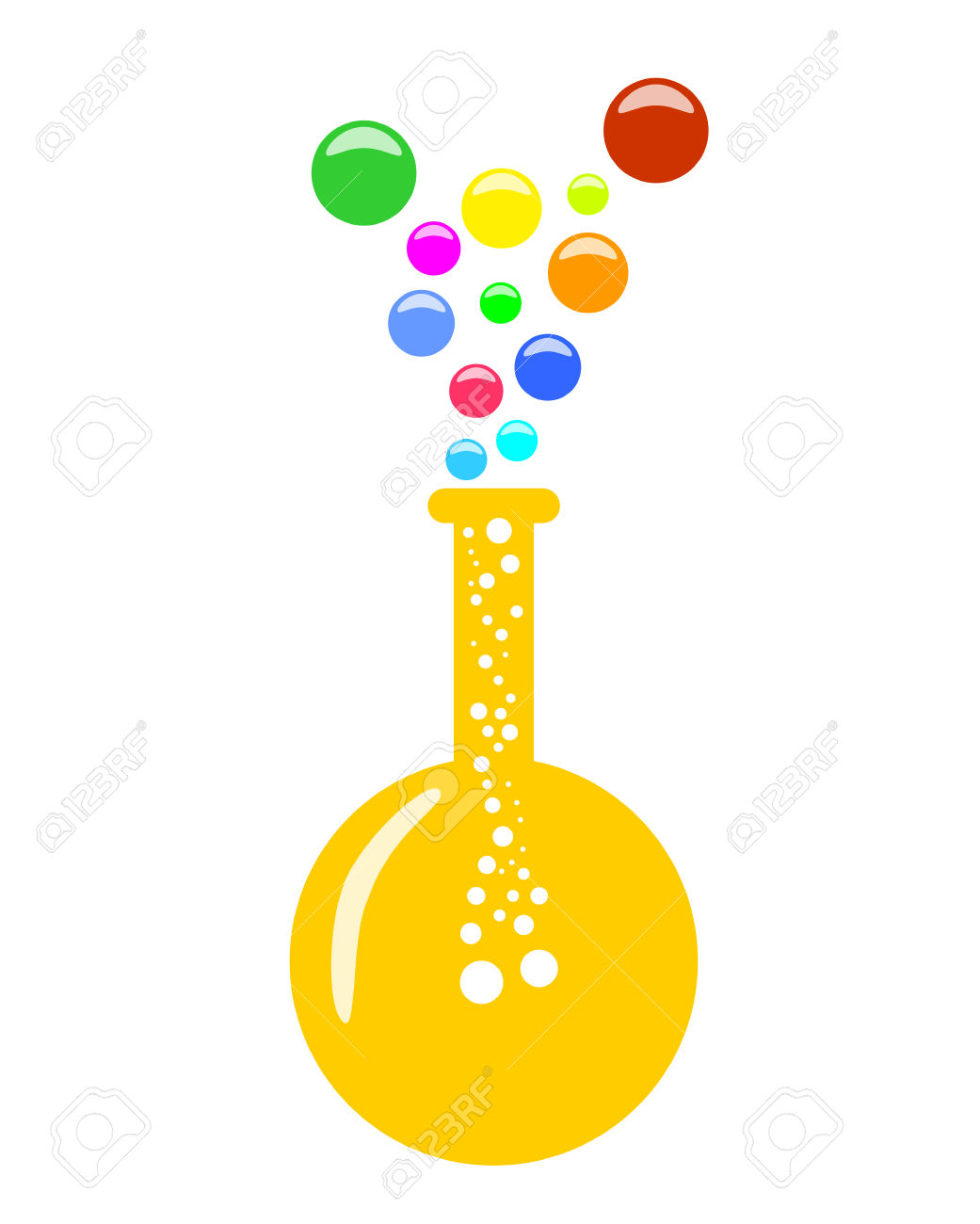 Abstract Round Bottom Chemical Flask With Vapor, 2D Illustration.