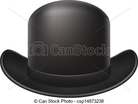 Vectors of Bowler hat in dark design on white background.