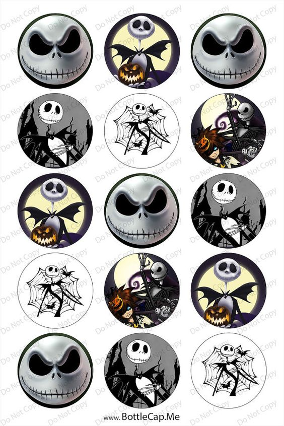 Nightmare Before Christmas Bottle Cap Images.