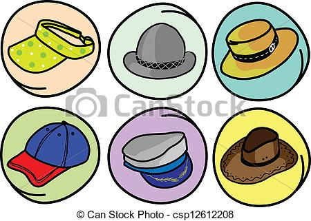 Vector Clipart of Set of Hats and Caps on Round Background.