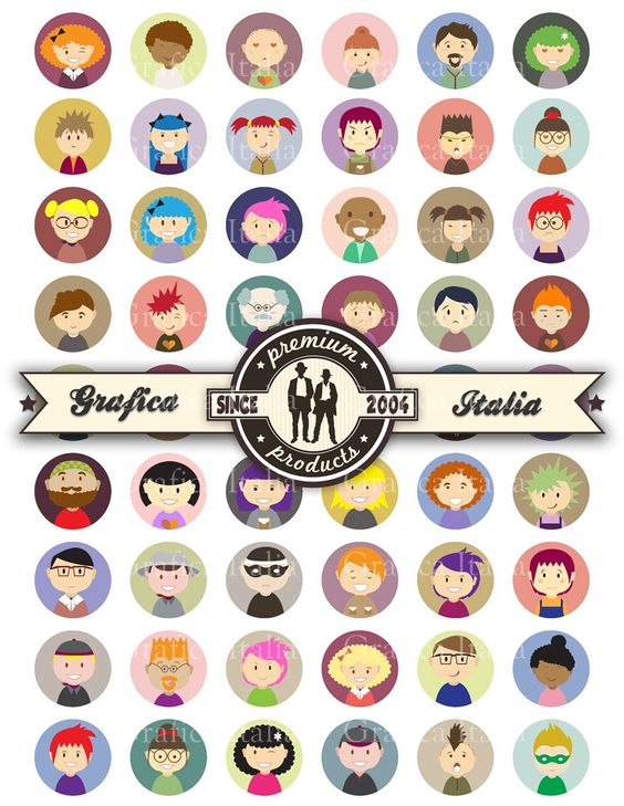 People Characters 1 inch round Bottle Cap Images Instant Download.