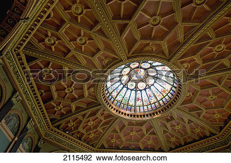 Stock Photo of Round stained glass window in a ceiling; toronto.