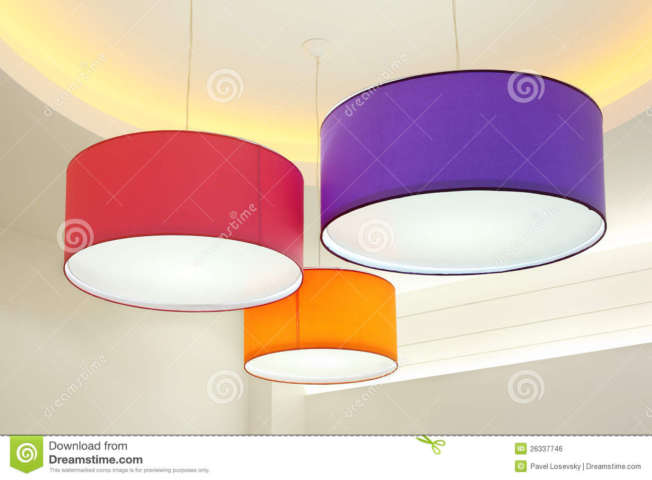 Round Stylish Lampshades Hang From Ceiling Royalty Free Stock.