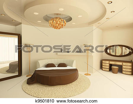 Stock Illustrations of Round bed with a suspended ceiling in a.