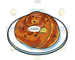 Round challah with raisins.