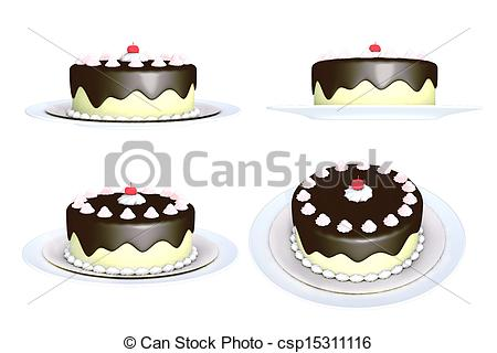 Clipart of round chocolate cake, isolated on the white background.