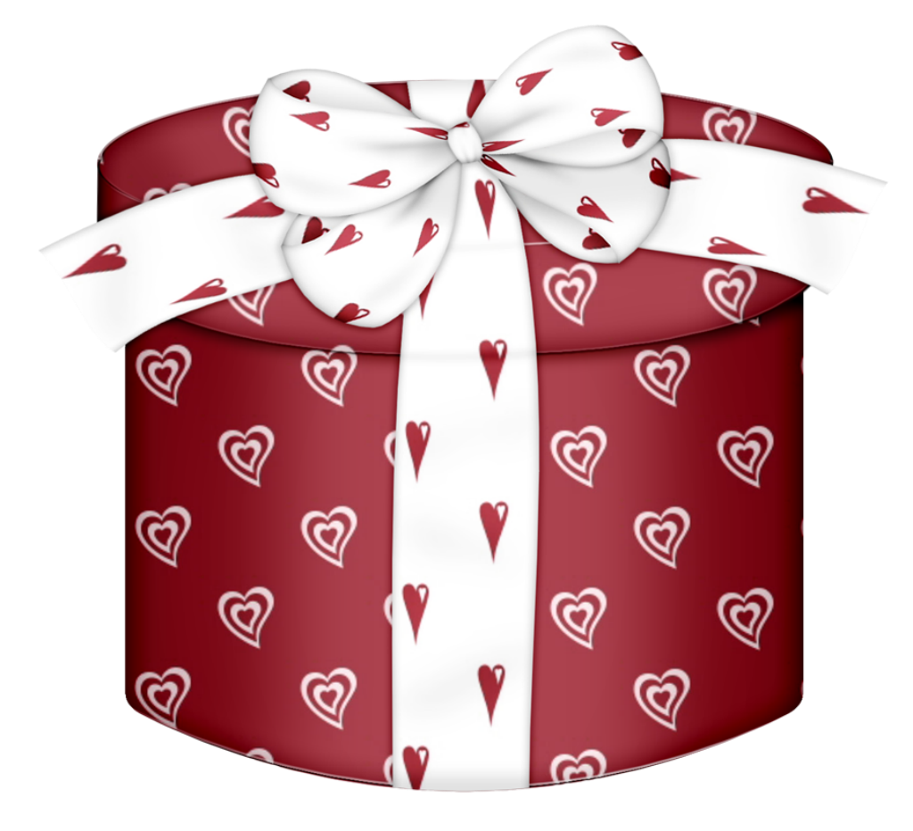 Red Heart Round Gift Box PNG Clipart.