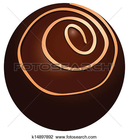 Clip Art of Round chocolate candy k14897892.