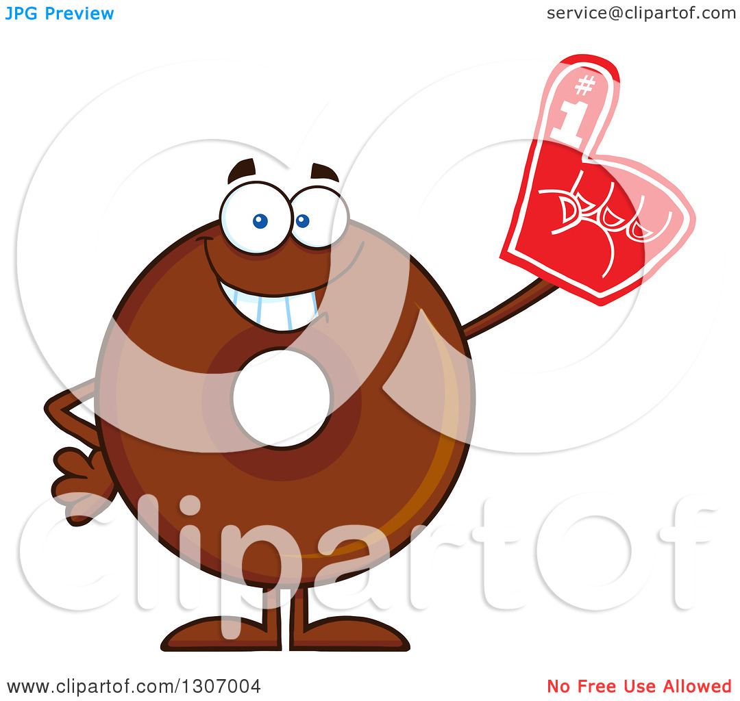 Clipart of a Cartoon Happy Round Chocolate Donut Character Wearing.