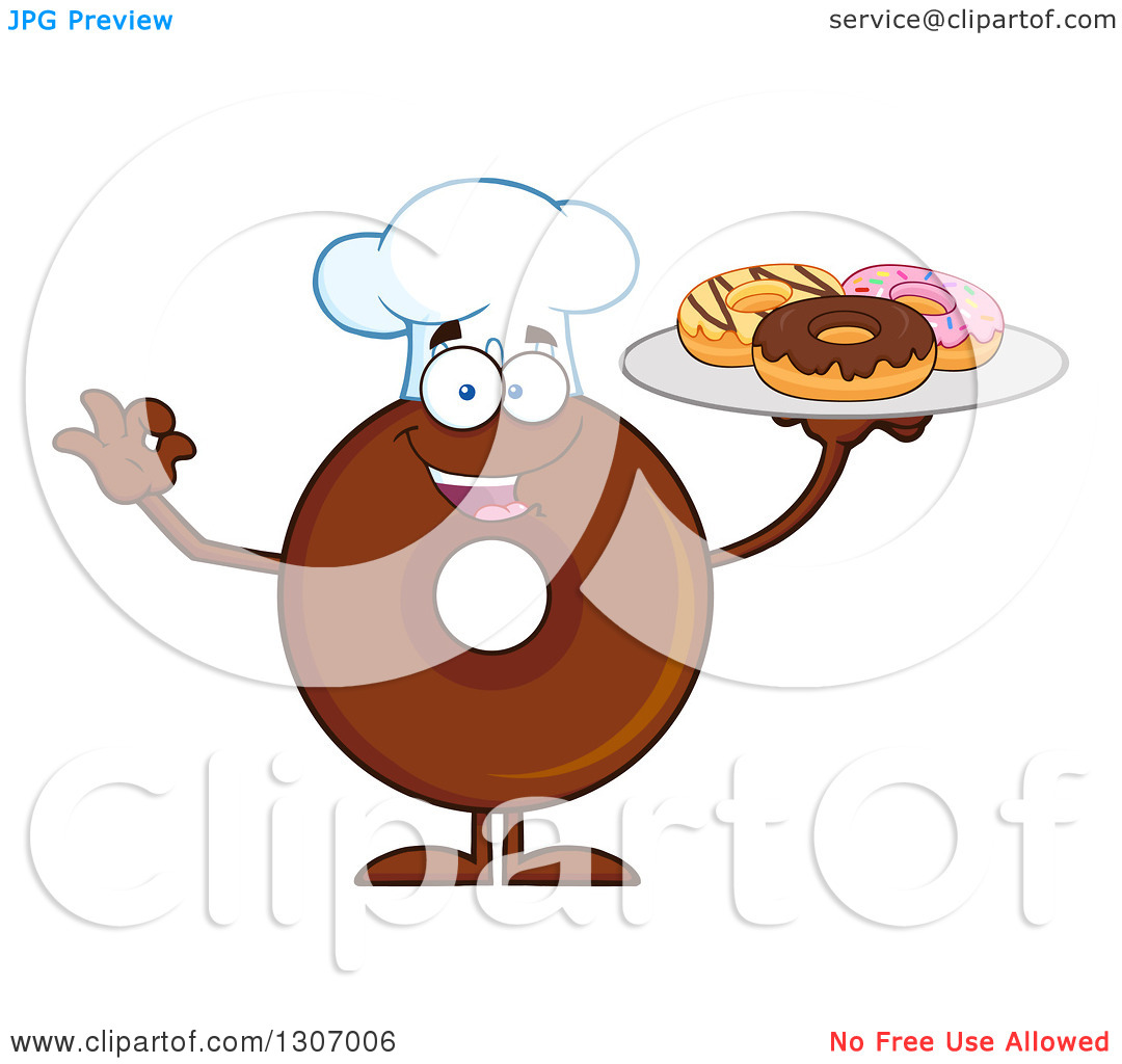 Clipart of a Cartoon Happy Round Chocolate Donut Chef Character.