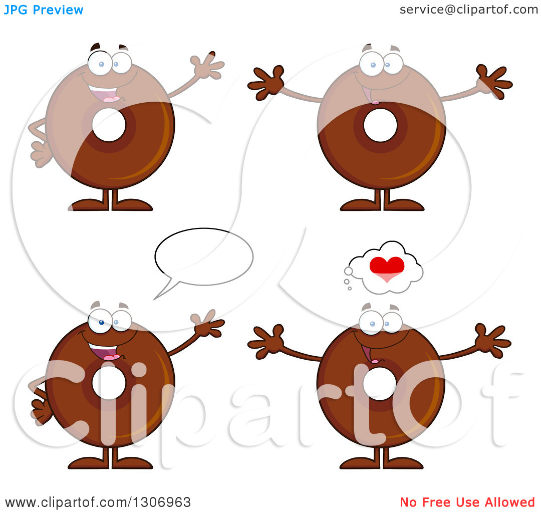 Clipart of Cartoon Happy Round Chocolate Donut Characters Waving.