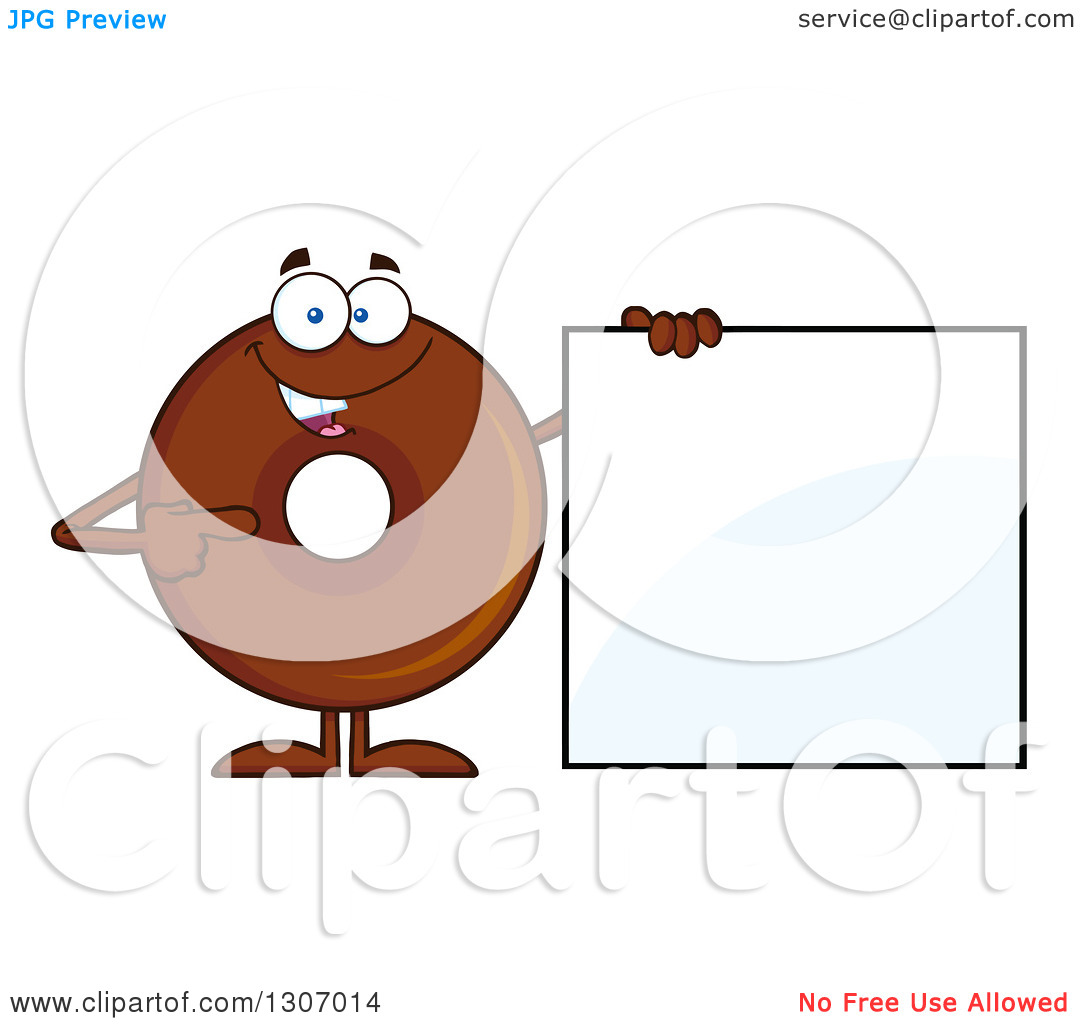 Clipart of a Cartoon Happy Round Chocolate Donut Character Holding.