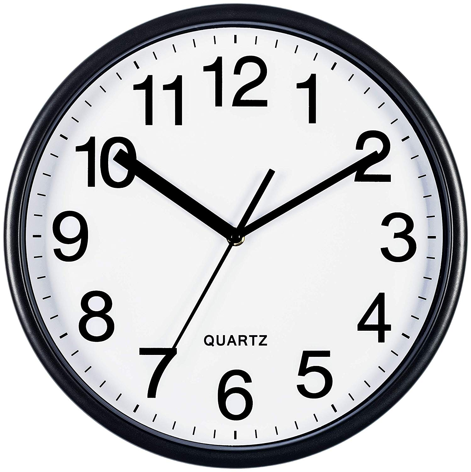 Bernhard Products Large Black Wall Clock, Silent Non Ticking.
