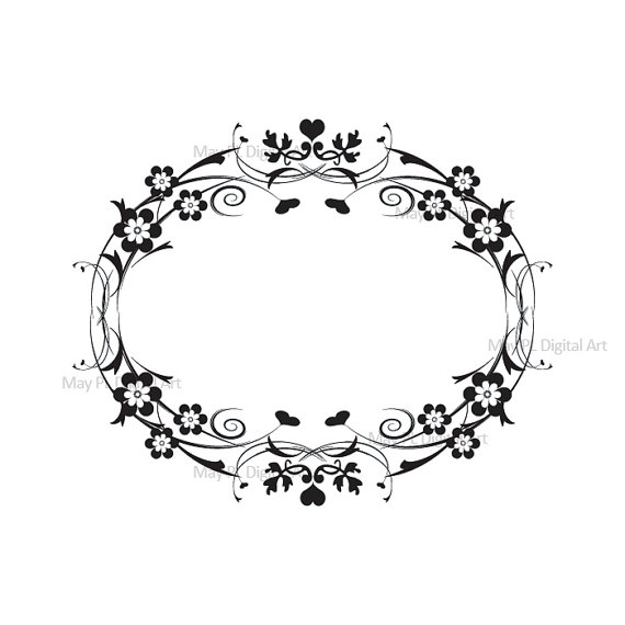 Digital Frame Vintage Flourish Clip Art Flower Clipart Black.