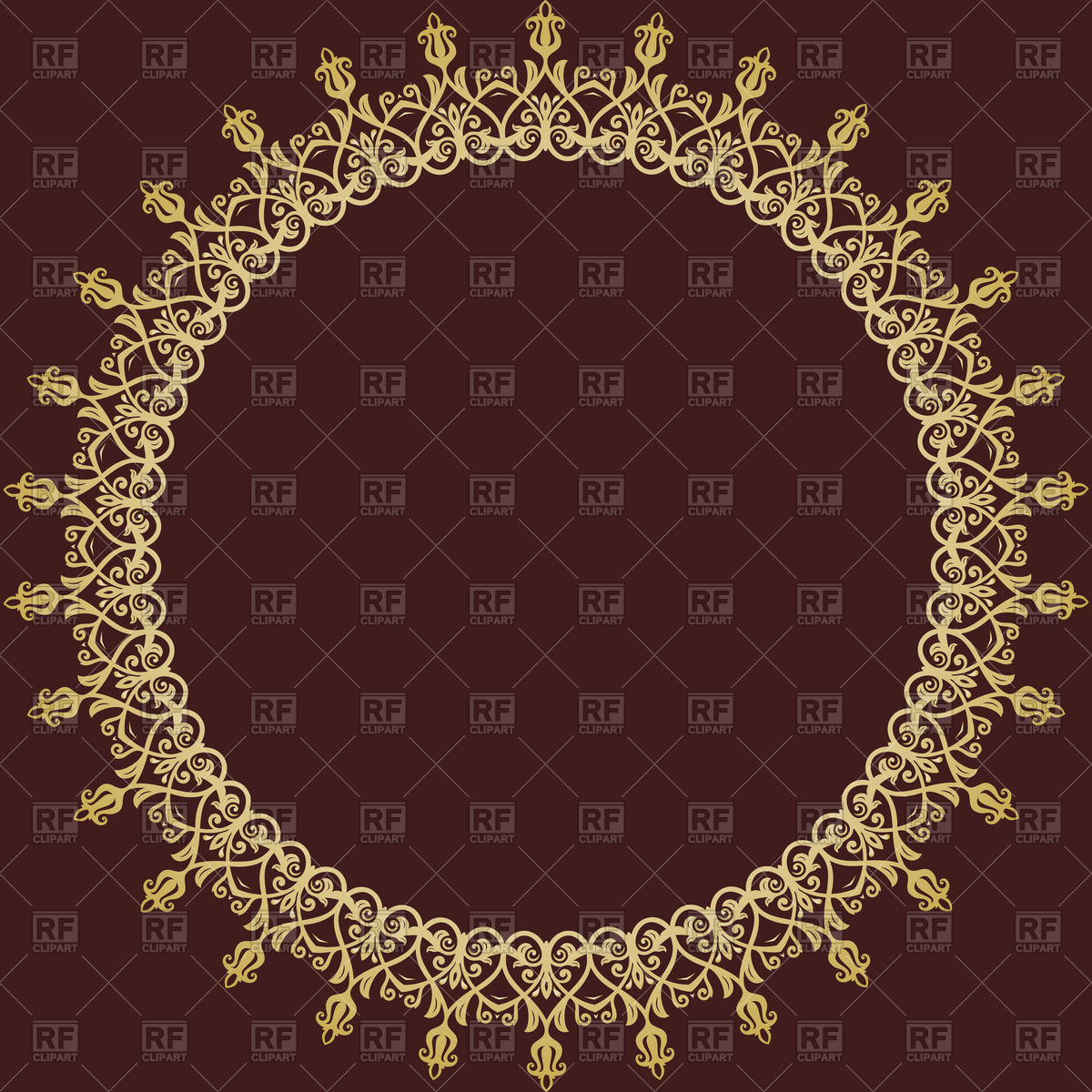 Oriental round frame with damask elements Vector Image #166233.
