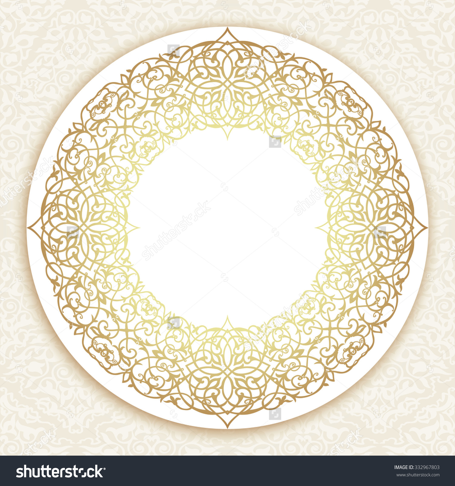 Gold Round Border Damask Motif Ornamental Stock Vector 332967803.