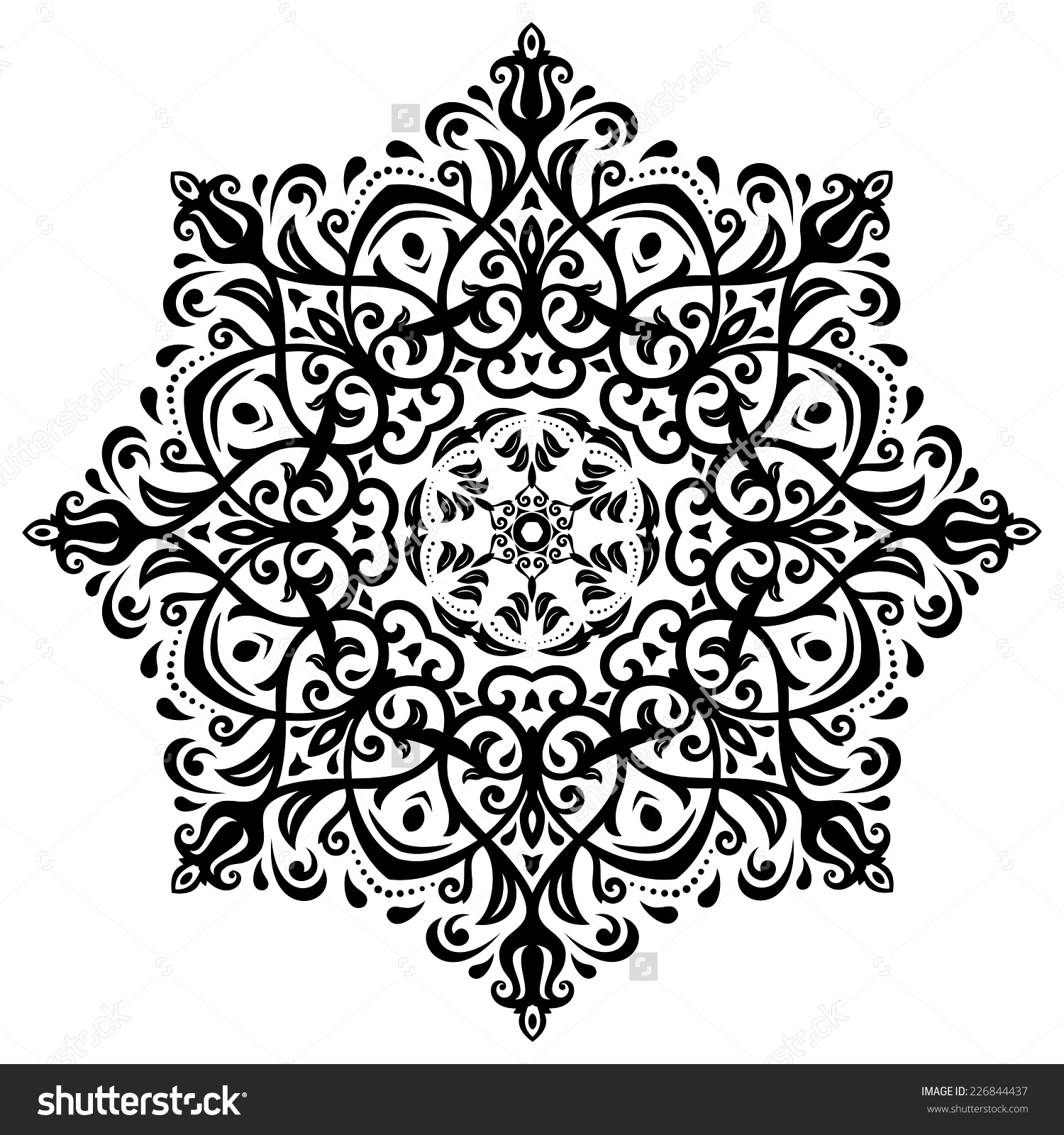 Damask Vector Floral Pattern Arabesque Oriental Stock Vector.
